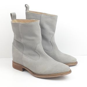 Anthropologie Suede Grey Pull-On Low Boots